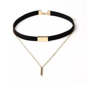 Black Velvet Choker Necklace Gold Chain
